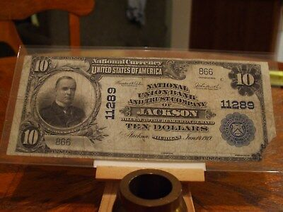 1902 Series  $10 National Currency,jackson Mich,charter #11289,low Serial Number