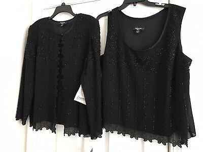 R&M Richards Black 2 Pc Womens Formal Beaded Top-NEW with tags-Sz 16W