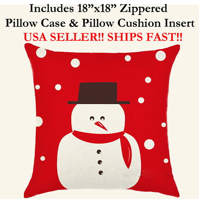 """18x18 18"""" 18in Christmas XMAS Holiday SNOWMAN Zippered Pillow Case & Cushion"""
