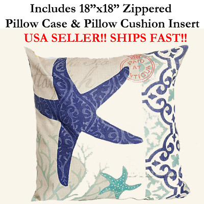 "18x18 18"" 18in Nautical STAR FISH MARINE LIFE Zipper Throw Pillow Case & Cushion"
