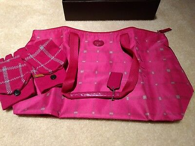 NIB Coach Bag & Mittens/Gloves - Berry (Hot Pink) & Grey - NEW! Christmas!!