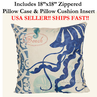 "18x18 18"" 18in Nautical JELLYFISH MARINE LIFE Zipper Throw Pillow Case & Cushion"