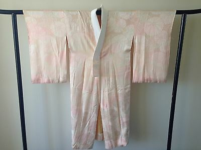 Pink Floral Silk Womens Vintage Japanese Kimono Robe One of a Kind Hand Made
