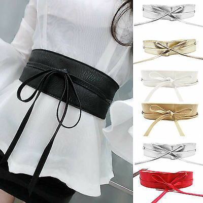 Fashion Soft Leather Wide Self Tie Wrap Around Waistband Lady Dress Bowknot Belt