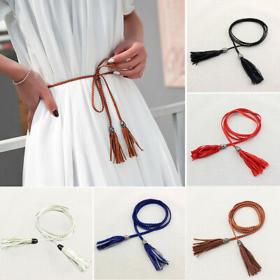 Womens Ladies Braided Belt PU Leather Tassel Self-Tie Thin Waistband Waist Rope
