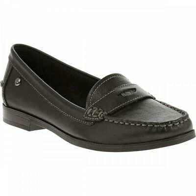 0d920e332ee Hush Puppies IRIS SLOAN Ladies Womens Leather Slip On Stylish Loafer Shoes  Black