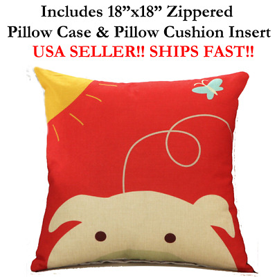 "18x18 18"" 18in PIG BUTTERFLY HEAD Animal Zoo Zippered Throw Pillow Case Cushion"