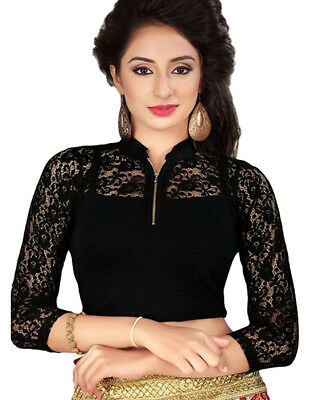 Ready Made Black Lycra Free Size Saree Choli Designer Sari Top Blouse-GC109