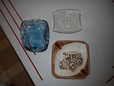 Vintage Lot of 3 Ashtrays Antique Car, Blue glass and Clear