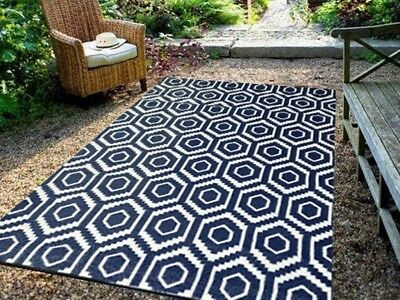 **ECO-FRIENDLY** Indoor/Outdoor Rug - Chatai2007-Navy/White- 180x270- RRP $200