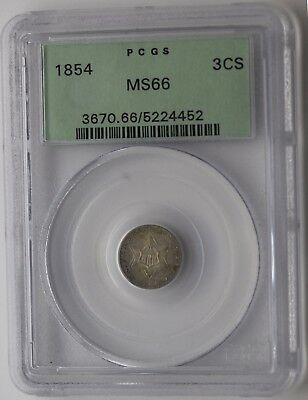 1854 Three Cent Silver Piece 3CS - PCGS Uncirculated - Rare MS66 Gen 3.1 Holder