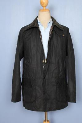 Mens BARBOUR Bedale WAXED Jacket Navy Size 42