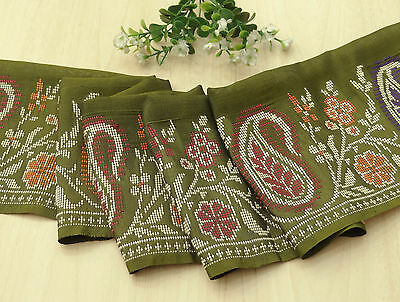 Vintage Indian Sari Border Weaving Trim Sewing Green Sarong Ribbon Used Lace 1YD