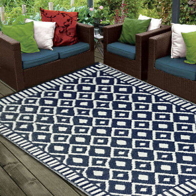 **ECO-FRIENDLY** Indoor/Outdoor Rug - Chatai2018-Navy/White- 150x240- RRP $150
