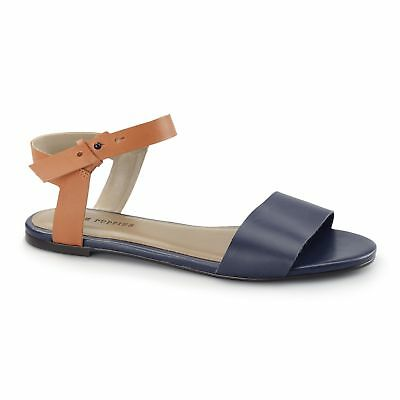 6675e7255814 Hush Puppies MEG RIVA Ladies Womens Ankle Buckle Strap Flat Summer Sandals  Navy