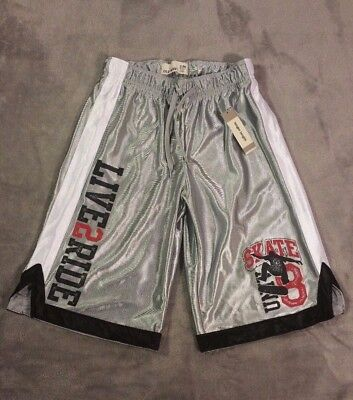 Old Navy Boys Silver Athletic Shorts Size Medium(8) w/ LIVE2RIDE&Skate Graphics