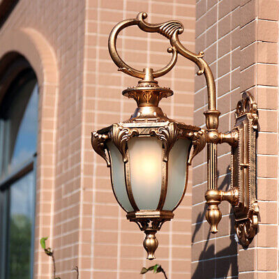 French Provincial White Glass Metal Lantern Retro Outdoor Gate Wall Light Sconce