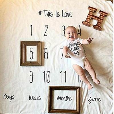 Newborn Baby Milestone Blanket Photography Props Monthly Swaddle Blankets LH
