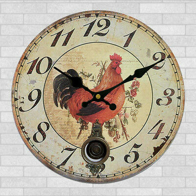 Large Vintage Wooden Wall Clock Shabby Chic Kitchen Home Antique Style #18