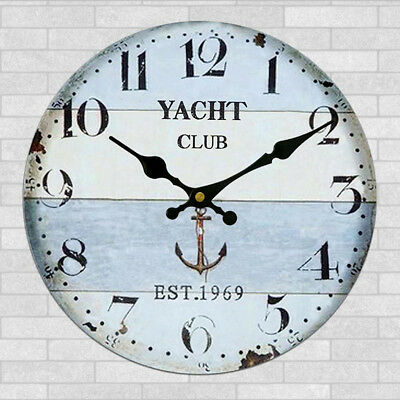 Large Vintage Wooden Wall Clock Shabby Chic Kitchen Home Antique Style #25