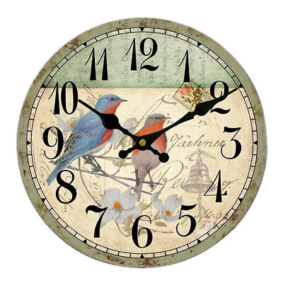 Large Vintage Wooden Wall Clock Shabby Chic Kitchen Home Antique Style #15
