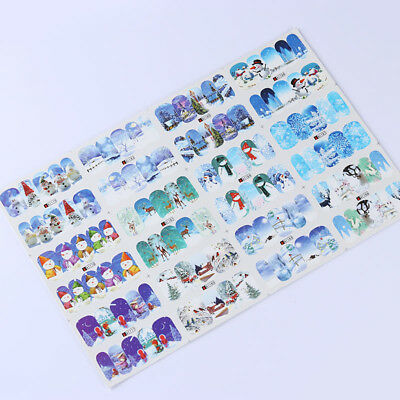 12 Patterns Water Decals Christmas Snowflake Snowman Nail Art Transfer Stickers