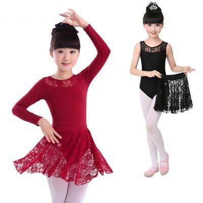 Girl Kids Ballet Dance Half Lace Sleeve + Skirt Dancewear Leotard Dress Tops Lot