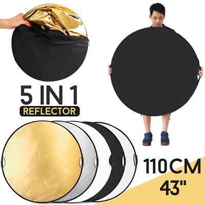 110cm 5in1 Multi Collapsible Disc Photo Studio Reflector Board w/ Handle Grips