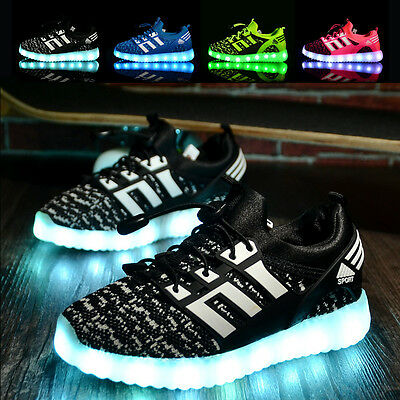 Led Children Boys Girls Light Up Sneakers Baby Luminous Shoes Trainers Kids XMAS