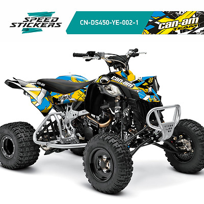 Can Am Ds 450 Graphics Kit Decals Stickers Yellow/blue Xmas Sale Big Discount