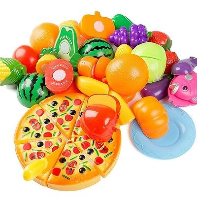 24Pcs Plastic Cutting Fruit Vegetables Pizza for Kid Pretend Toys Role Play Gift
