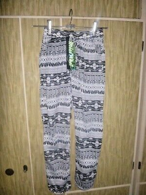 BNWT Girls Size 14 Black Patterned Miss Who Happy Pants