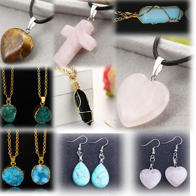Choker Necklace Women Jewelry Natural Stone Pendants Heart Cross Charm Earrings