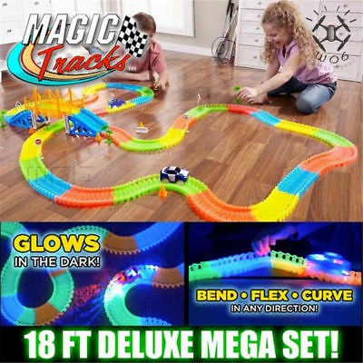 MAGIC TRACKS 360PCS Glow in the Dark  LIGHT UP RACE Cars Bend Flex Toys Auto
