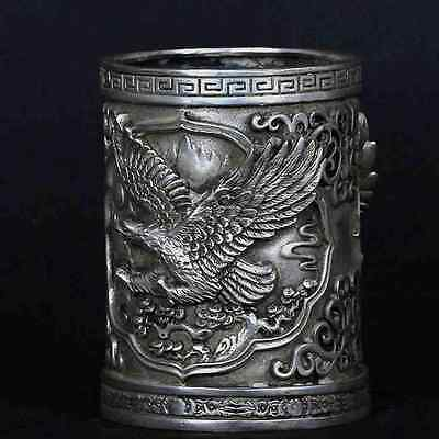 Tibet Silve Copper Hand-Carved Eagle Brush Pot w Xuande Mark CSY607 PRETTY