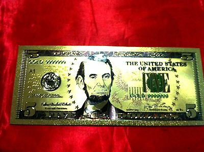 Banknote Usa America $5 Gold Color Coloured Dollar Bill 24Kt Collectable