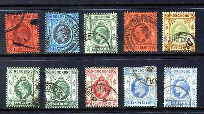 Hong Kong King Edward Vii Collection From 1903: 10 Stamps Good Used