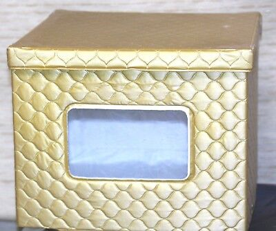 vintage hatbox hat box unbranded square gold quilted w/plastic viewing window