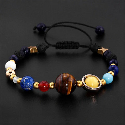 Universe Solar System Galaxy Eight Planet Stone Beads Braided Bracelet Chain