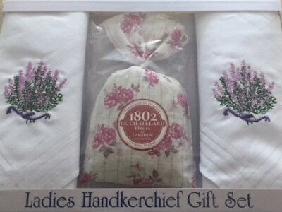 Ladies Lavender Sachet And Handkerchief Gift Set