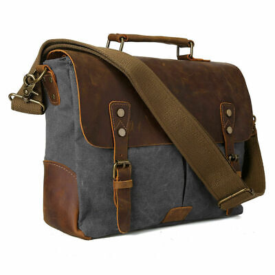 "Men Vintage Leather Canvas 15.6"" Laptop Shoulder Messenger Bag Crossbody Satchel"