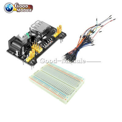 MB102 Power Supply+65PCS Jump Cable Wires+400 Point Solderless PCB Breadboard
