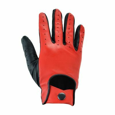 Mens Real Leather Top Quality Slim Fit Vented Driving Gloves