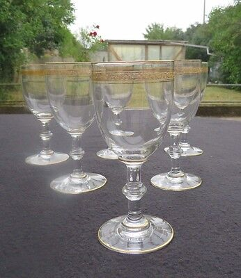6 glasses wine crystal of saint louis service Talma decor Gold type thistle 1