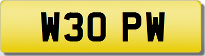 PW 3 OPW 30 THIRTY INITIALS Private CHERISHED Registration Number Plate