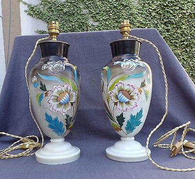 2 vases : base lamp opaline decoration flower enamelled period 19eme