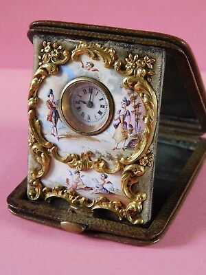 Antique Swiss Enamel Travel Clock