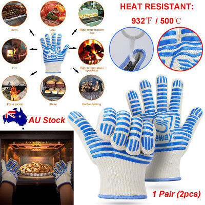 932°F Heatproof Grill Oven/BBQ Gloves Baking Kitchen Cooking Silicone Mitt 1Pair