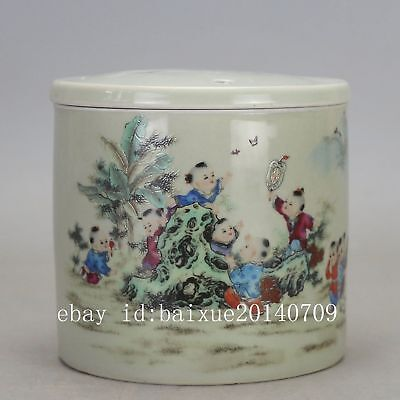 Chinese old porcelain famille rose glaze child play pattern Cricket cans