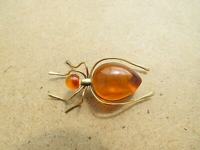 Old Genuine Baltic jewelry Amber Pressed Brooch Egg Yolk spider vintage 5 g.
